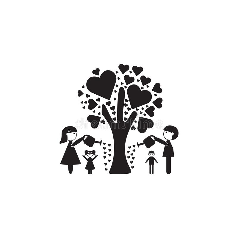 de familie gaf de boom van liefdepictogram water De illustratie van familie taxeert pictogram Het grafische ontwerp van de premie stock illustratie