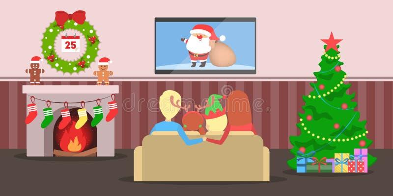 De familie heeft samen pret bij Kerstmisboom royalty-vrije illustratie