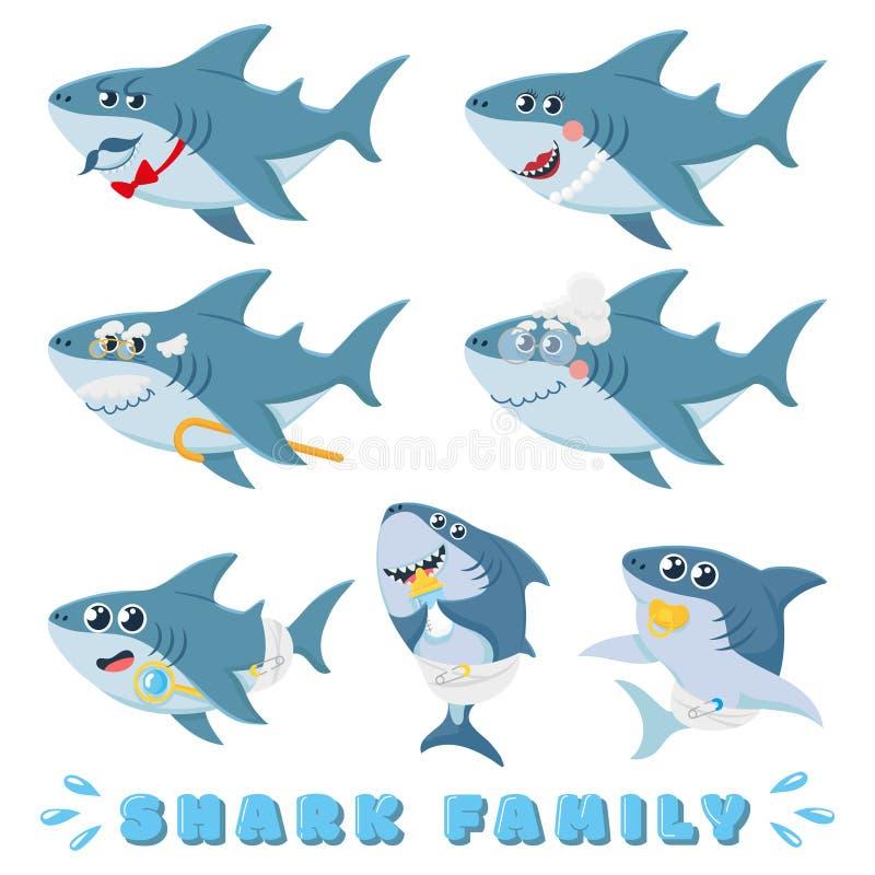 De familie van beeldverhaalhaaien Pasgeboren babyhaai, grappige mariene vader en vrolijke de karakters vectorillustratie van moed vector illustratie