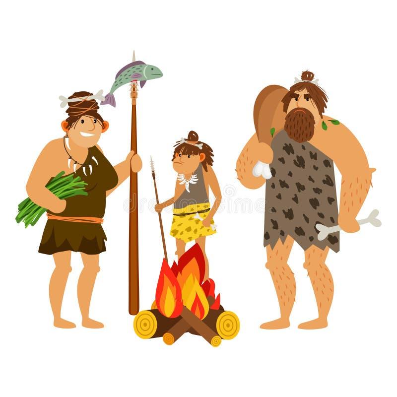 De familie van beeldverhaalholbewoners royalty-vrije illustratie