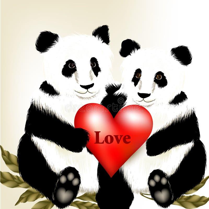 Het leuke paar van beeldverhaalpanda draagt houdend groot rood hart met w stock illustratie