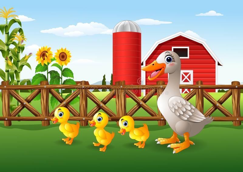 De familie van de beeldverhaaleend in het landbouwbedrijf vector illustratie