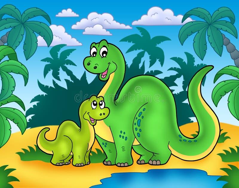 De familie van de dinosaurus in landschap vector illustratie