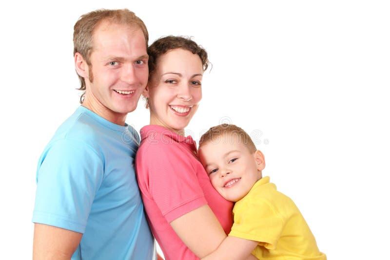 De familie van de kleur met jongen stock foto