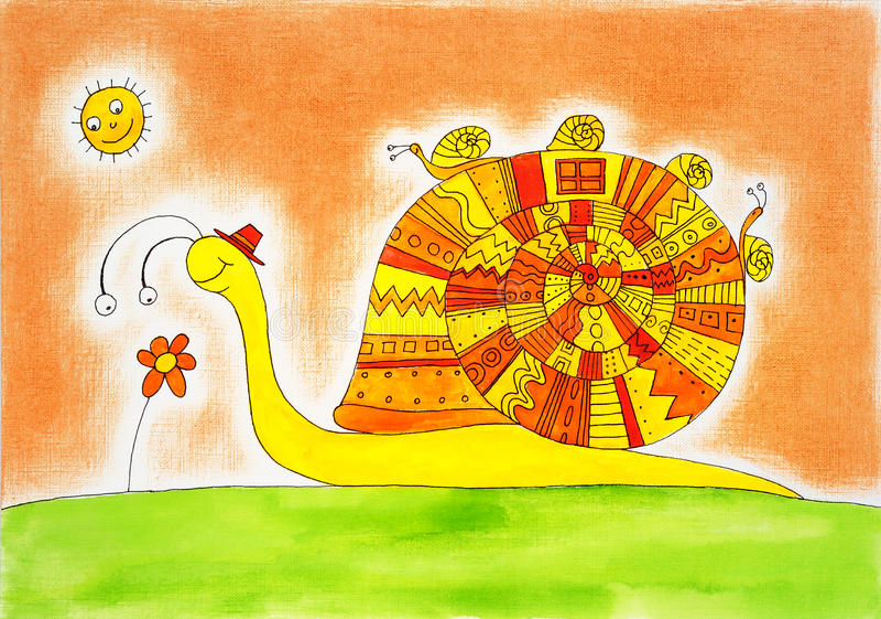 De familie van de slak, childs tekening, waterverf het schilderen royalty-vrije illustratie