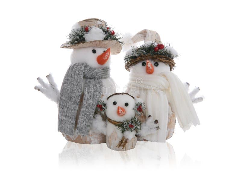 De Familie van de sneeuwman royalty-vrije stock afbeelding