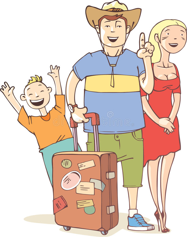 De Familie Van De Toerist Stock Afbeelding