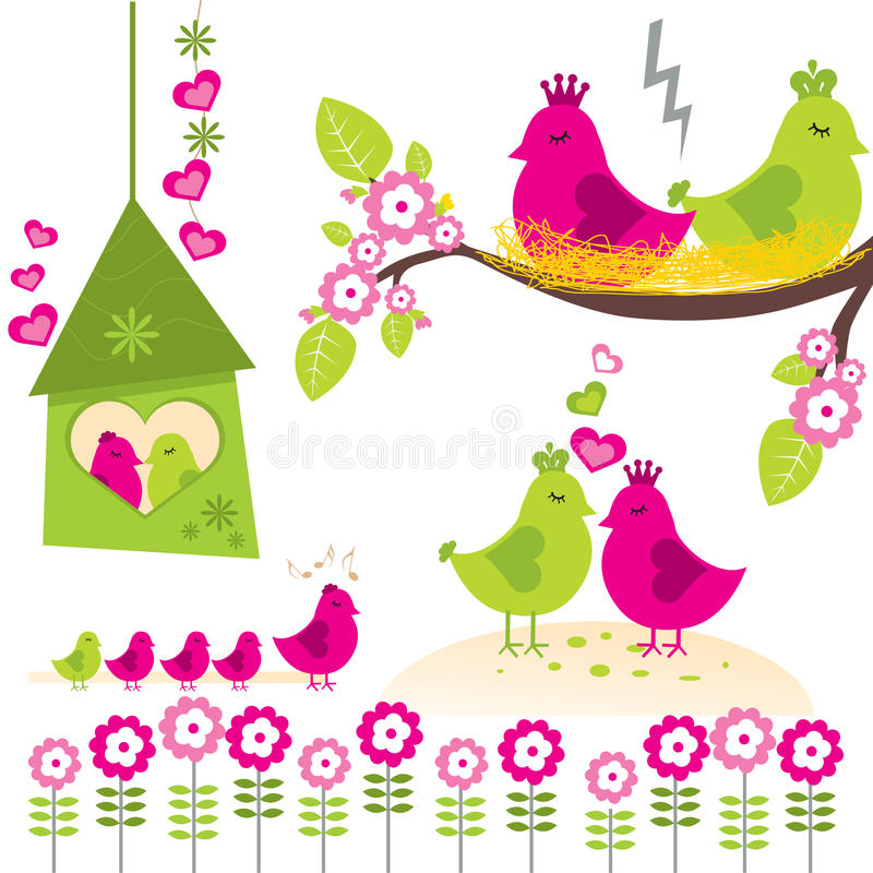 De Familie van de vogel royalty-vrije illustratie