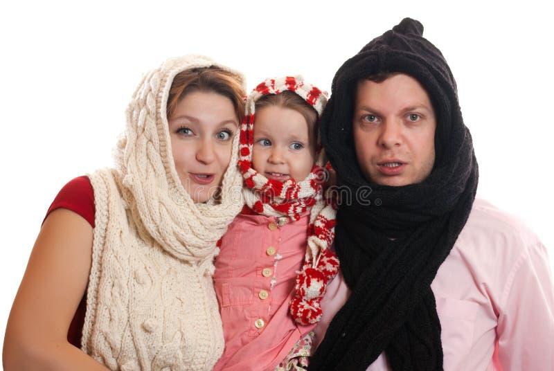 De familie van de winter royalty-vrije stock foto