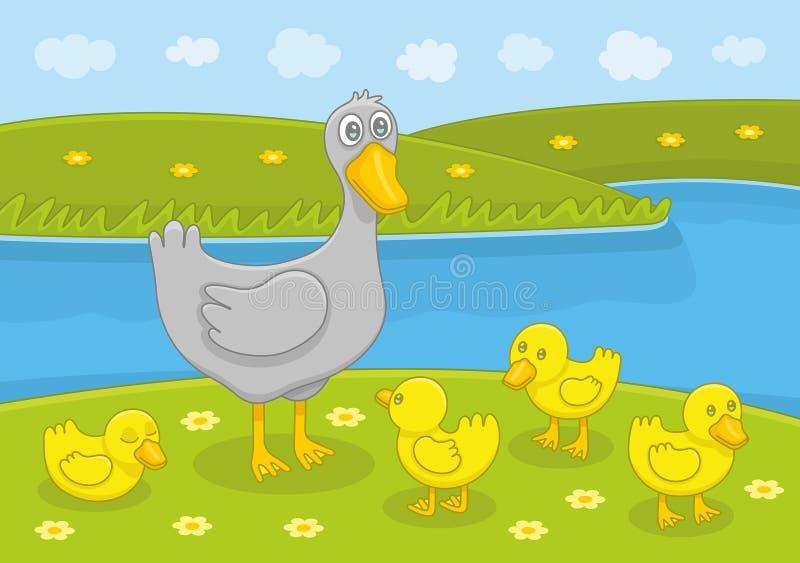 De familie van eenden stock illustratie