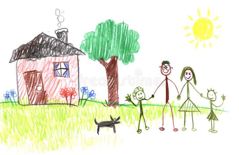De Familie van het Cijfer van de stok stock illustratie