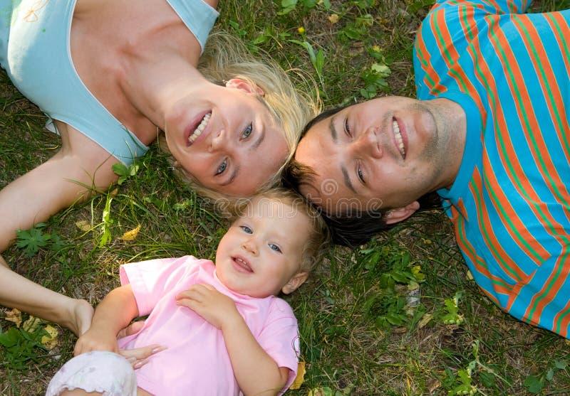 De familie van het geluk op het gras stock foto's