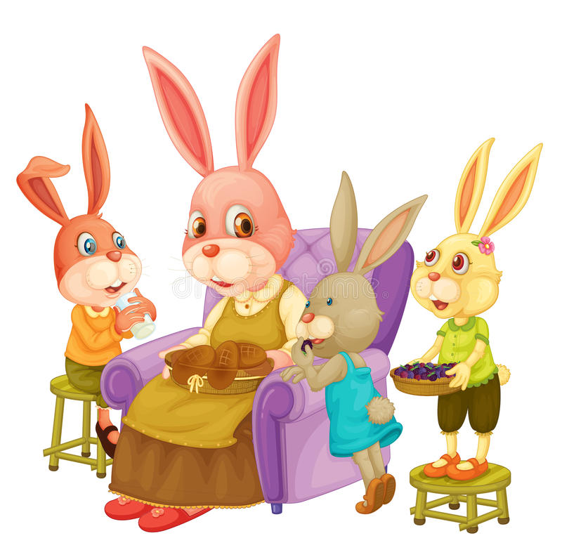 De familie van het konijn royalty-vrije illustratie