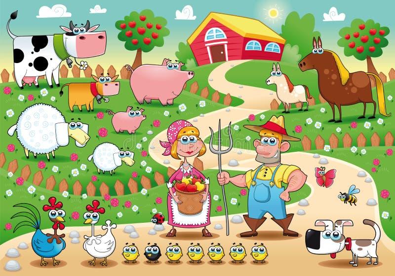 De Familie van het landbouwbedrijf. royalty-vrije illustratie
