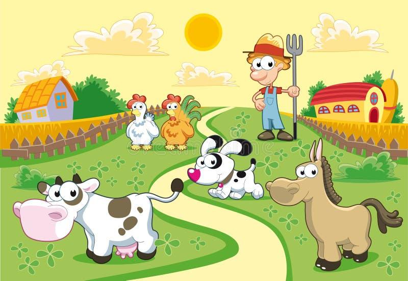 De Familie van het landbouwbedrijf met achtergrond. stock illustratie