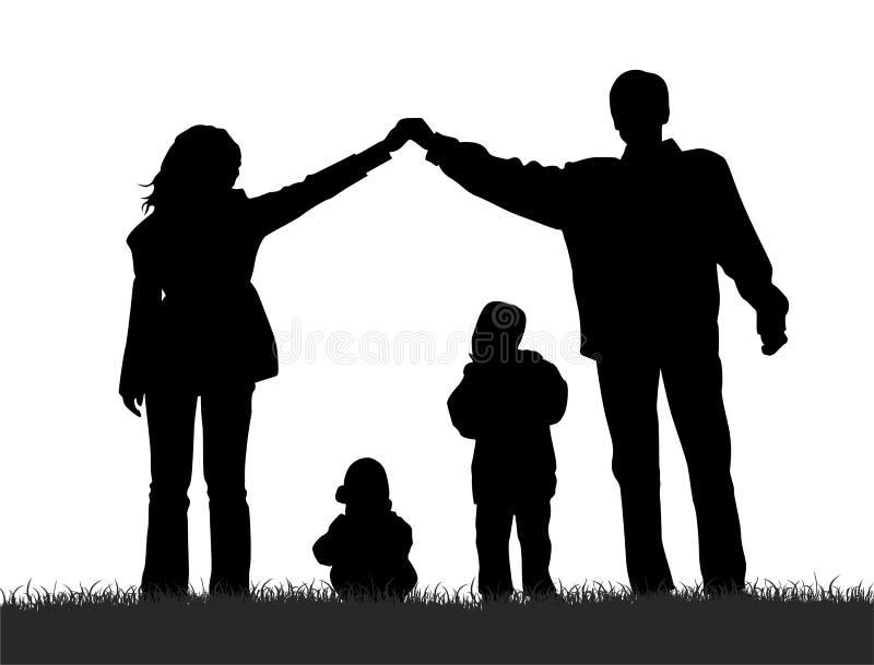 De familie van het silhouet royalty-vrije illustratie
