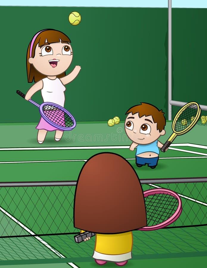 De Familie van het tennis stock afbeelding