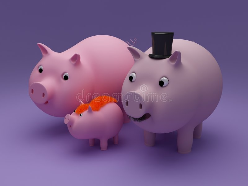 De familie van het varken stock illustratie