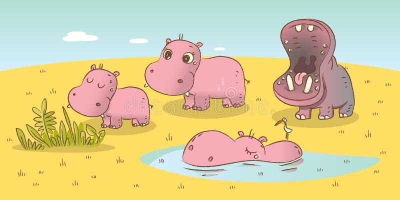 De familie van Hippo stock illustratie