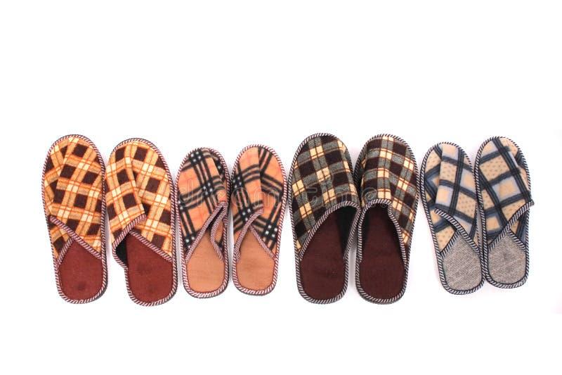 De familie van pantoffels stock foto
