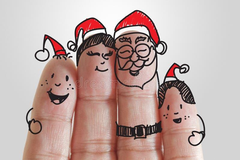 De Familie van vingers in Kerstmisseizoen royalty-vrije stock afbeelding