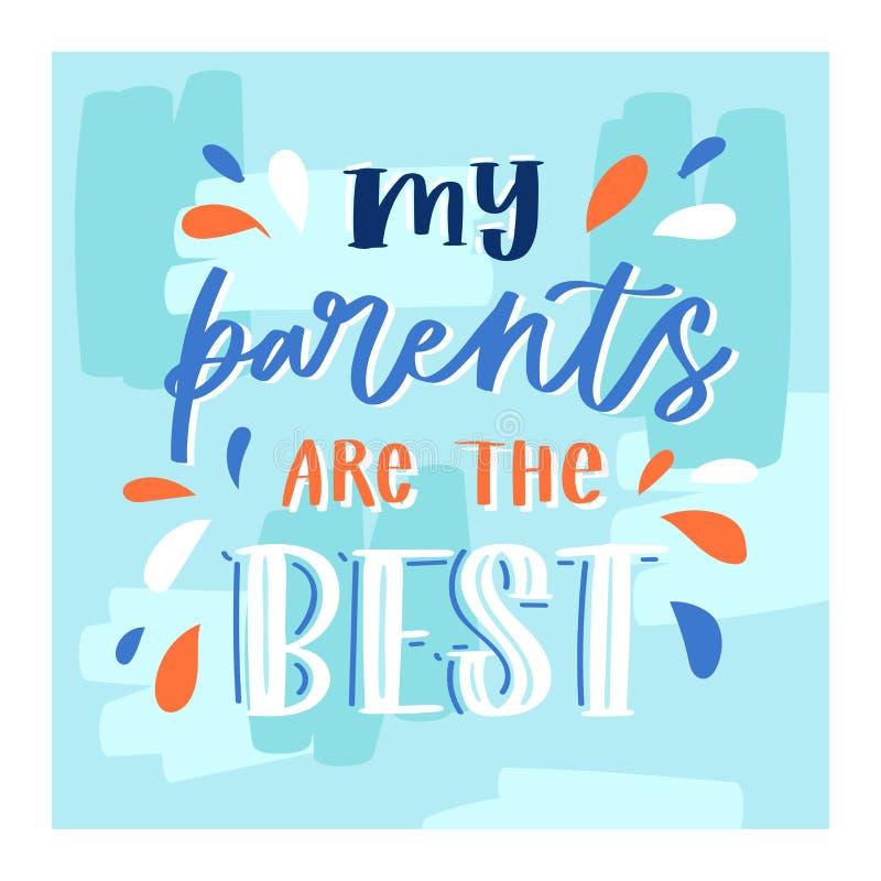 De familiedag die vector mooi kalligrafie lief teken lettring aan mammapapa i houdt van u op van Valentijnskaartenmoeders of Vade vector illustratie