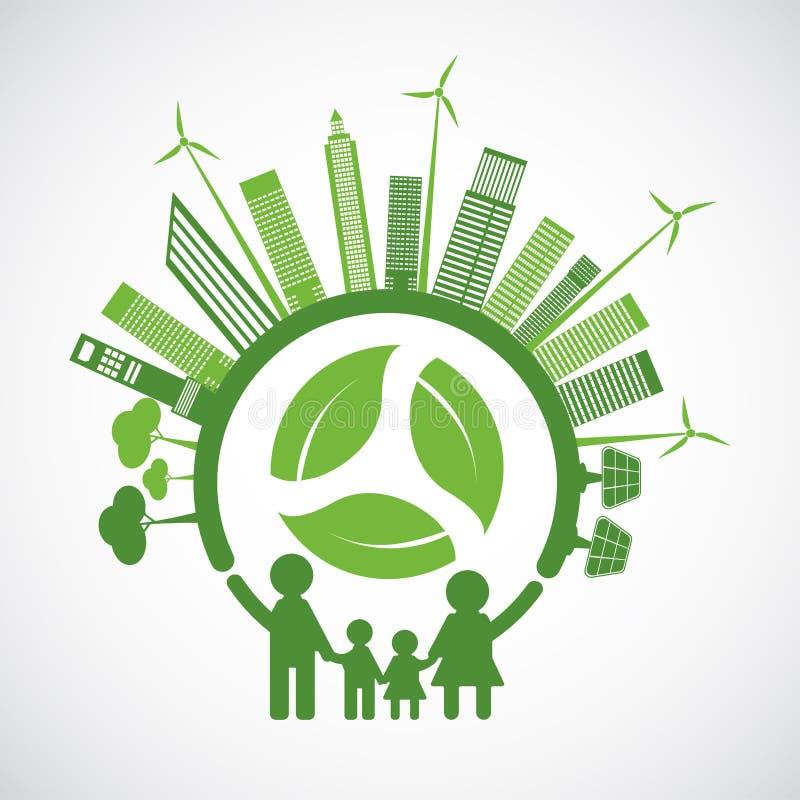 De familieecologie en het Milieuconcept met Groene Bladeren rond Steden helpen de Wereld met Milieuvriendelijke Ideeën vector illustratie