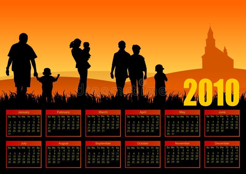 De familiekalender van het jaar 2010 vector illustratie