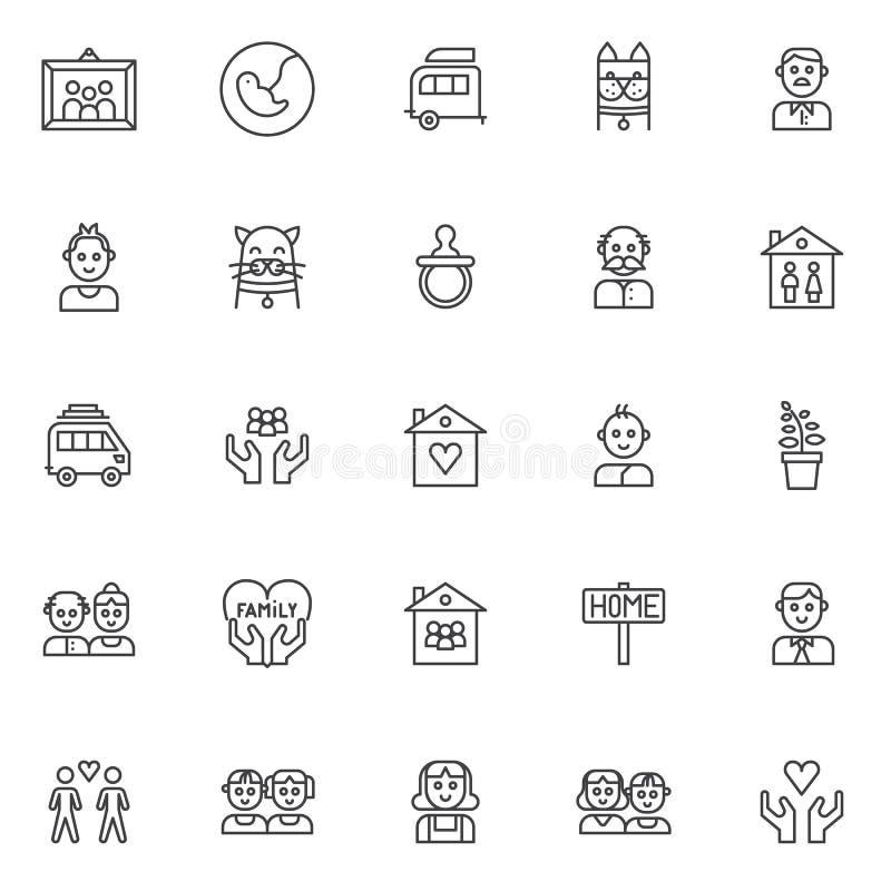 De familieleden schetsen geplaatste pictogrammen vector illustratie