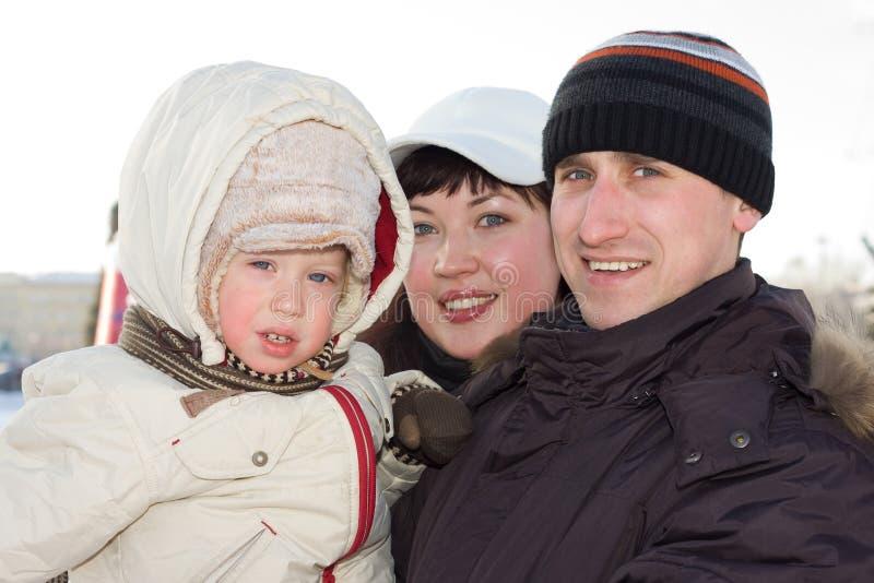 De familieportret van de winter stock afbeeldingen