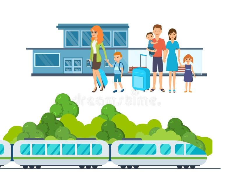 De families met bagage wachten op aankomst van trein bij station stock illustratie