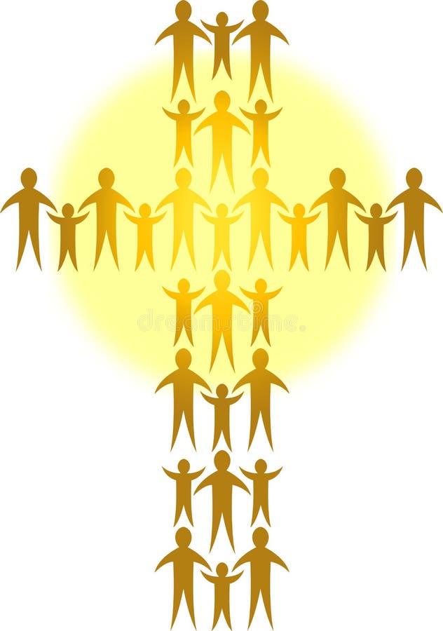 De families vormen een Gouden Cross/ai royalty-vrije illustratie