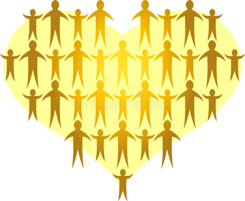De families vormen een Gouden Heart/ai vector illustratie