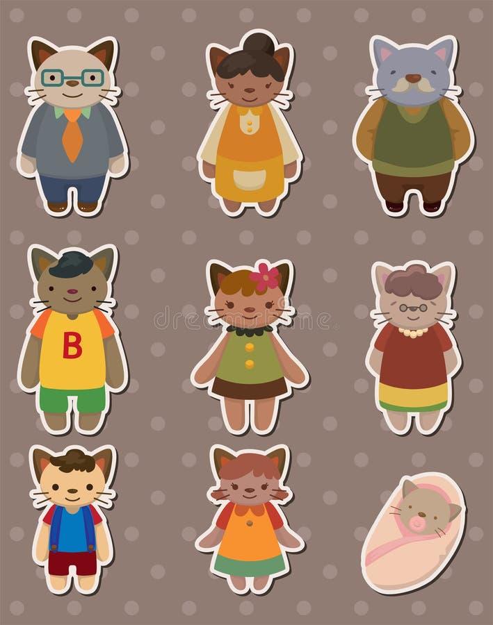 De familiestickers van de kat vector illustratie