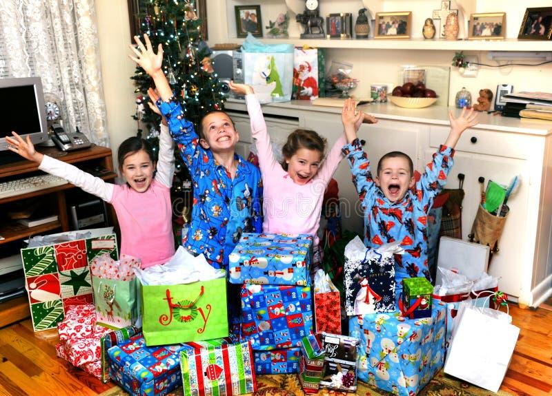De familiestijl van de Kerstmisviering stock foto's