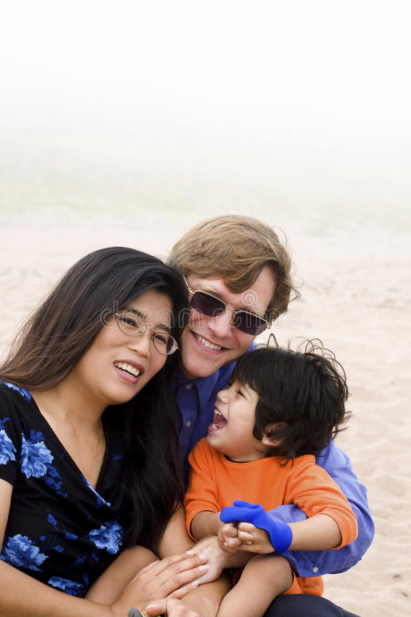 De familiezitting van Mutiracial op strand stock foto's