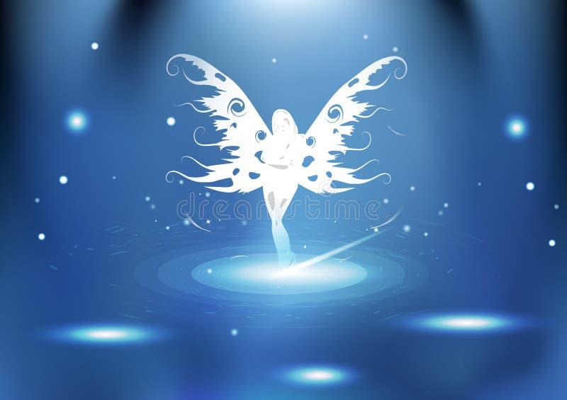 De fantasie van de koninginfee met gloeiende deeltjesmelkweg licht helder e vector illustratie