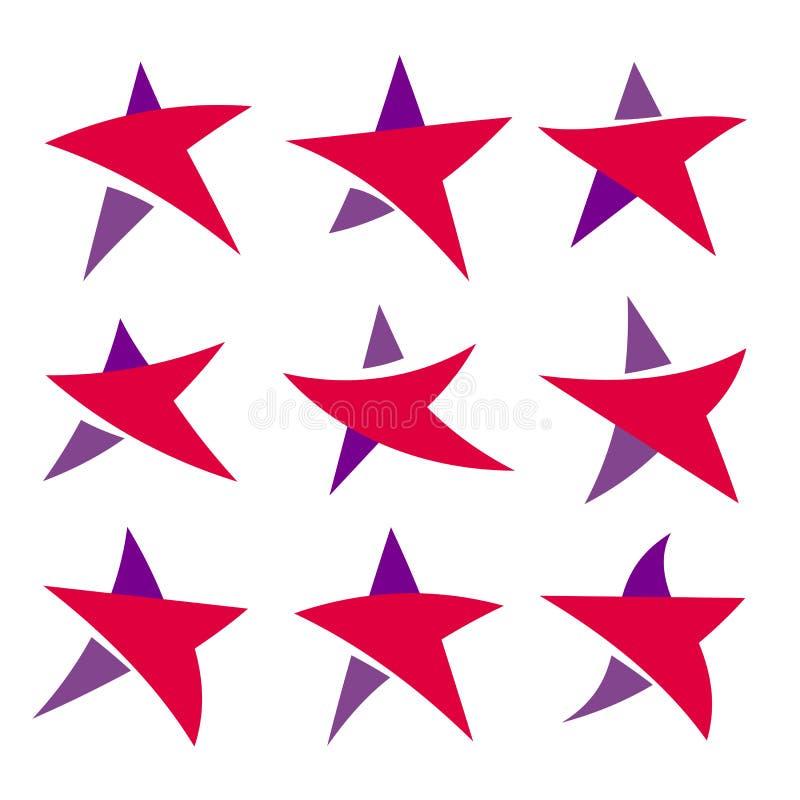 De fantastische geïsoleerde simpe vlak rode en violette reeks van kleurensterren van ongebruikelijke vorm Inzameling van vectorem stock illustratie