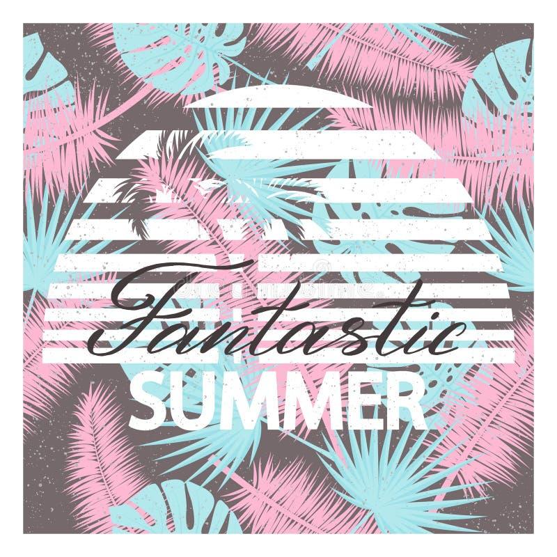 De fantastische zomer Achtergrond met tropische palmbladen Vectorillustratie voor t-shirt en ander gebruik stock illustratie