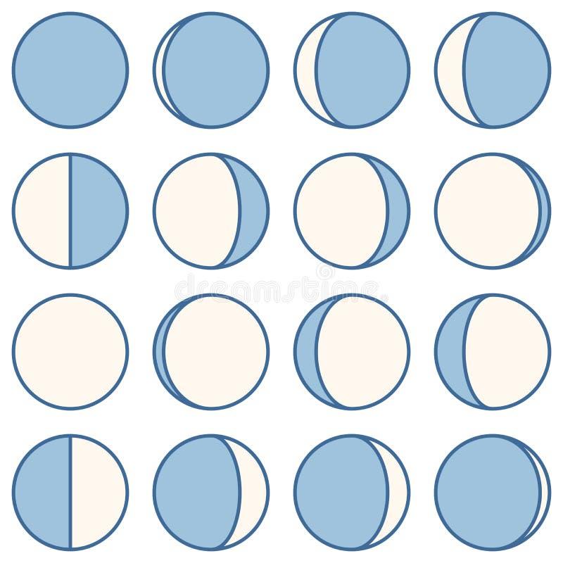 De fase van de maan Reeks pictogrammen Vector illustratie stock illustratie