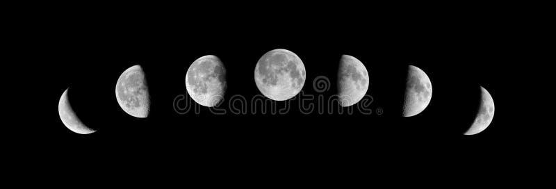 De fasen van de maan over de nachthemel met sterren royalty-vrije stock foto's