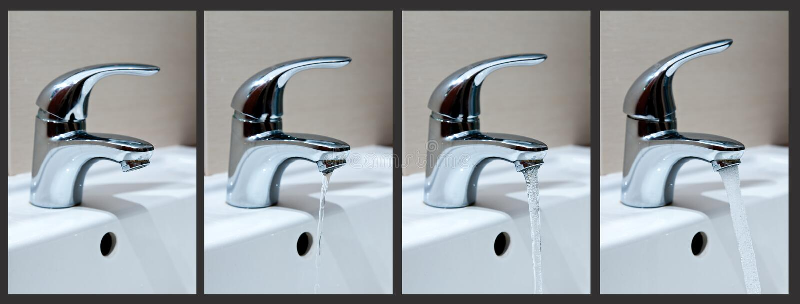De fasen van het leidingwater stock afbeelding