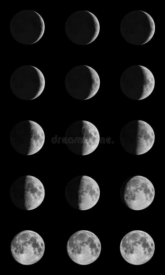 De fasen van de maan over de nachthemel met sterren royalty-vrije stock afbeelding