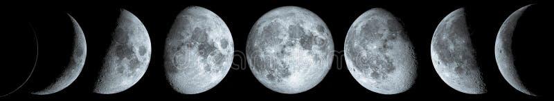 De fasen van de maan over de nachthemel met sterren royalty-vrije stock afbeeldingen