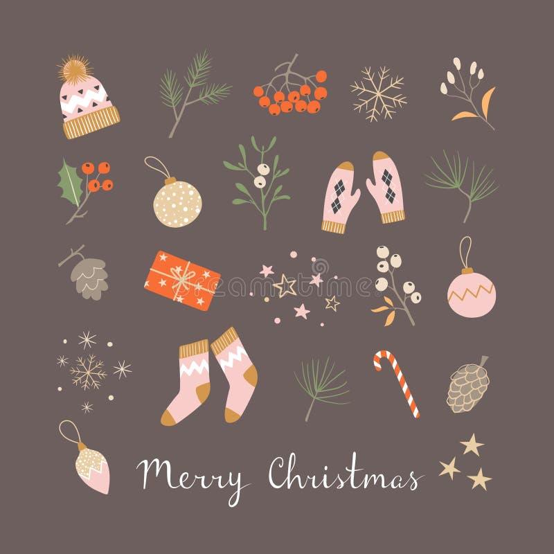 De favoriete kleine dingen van de Kerstmisvakantie vector illustratie