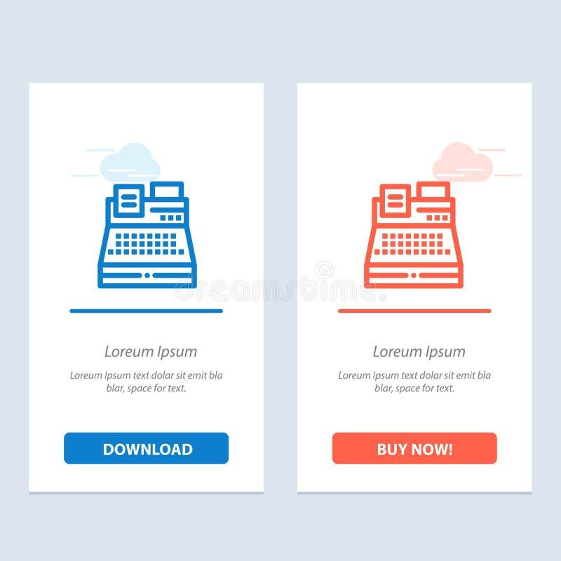 De fax, de Druk, de Printer, het Winkelen de Blauwe en Rode Download en kopen nu de Kaartmalplaatje van Webwidget vector illustratie