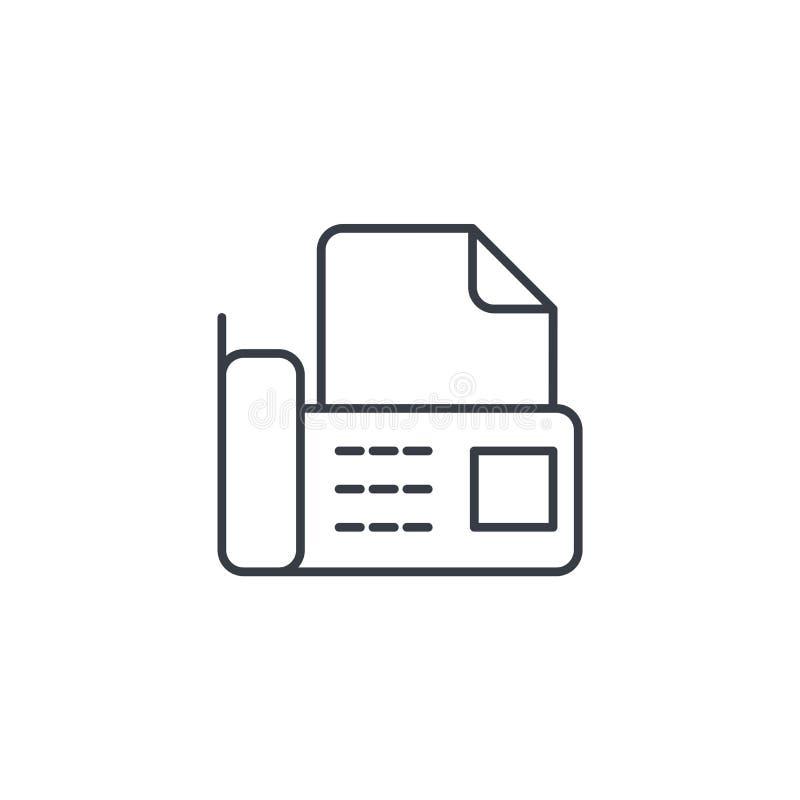 De fax van de bureautelefoon, digitale telefoon, documenteert dun lijnpictogram Lineair vectorsymbool vector illustratie