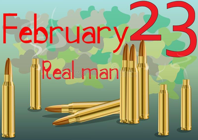 23 de febrero día de defensor de la patria Una tarjeta extraordinaria stock de ilustración