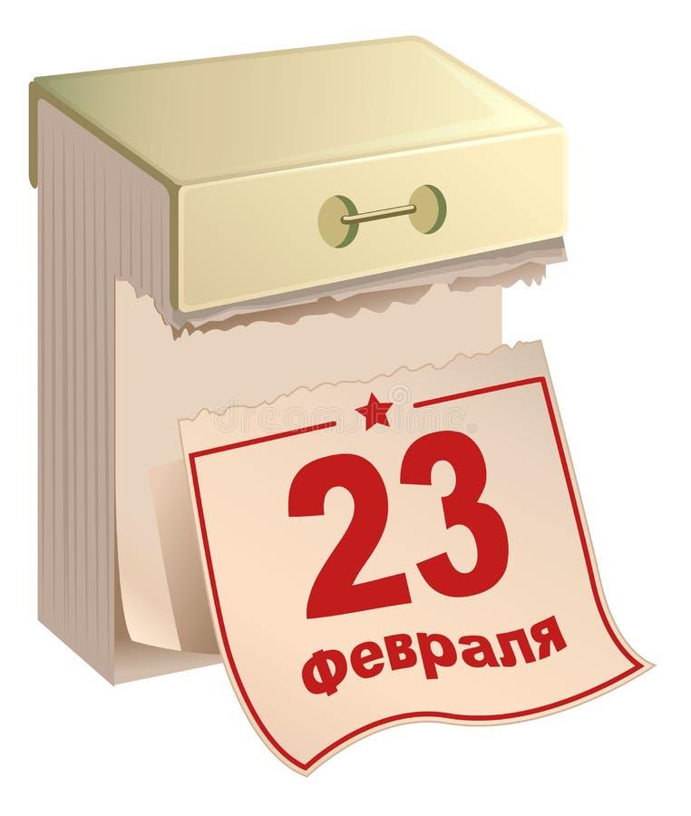 23 de febrero día ruso de la patria El ruso rasga el calendario libre illustration