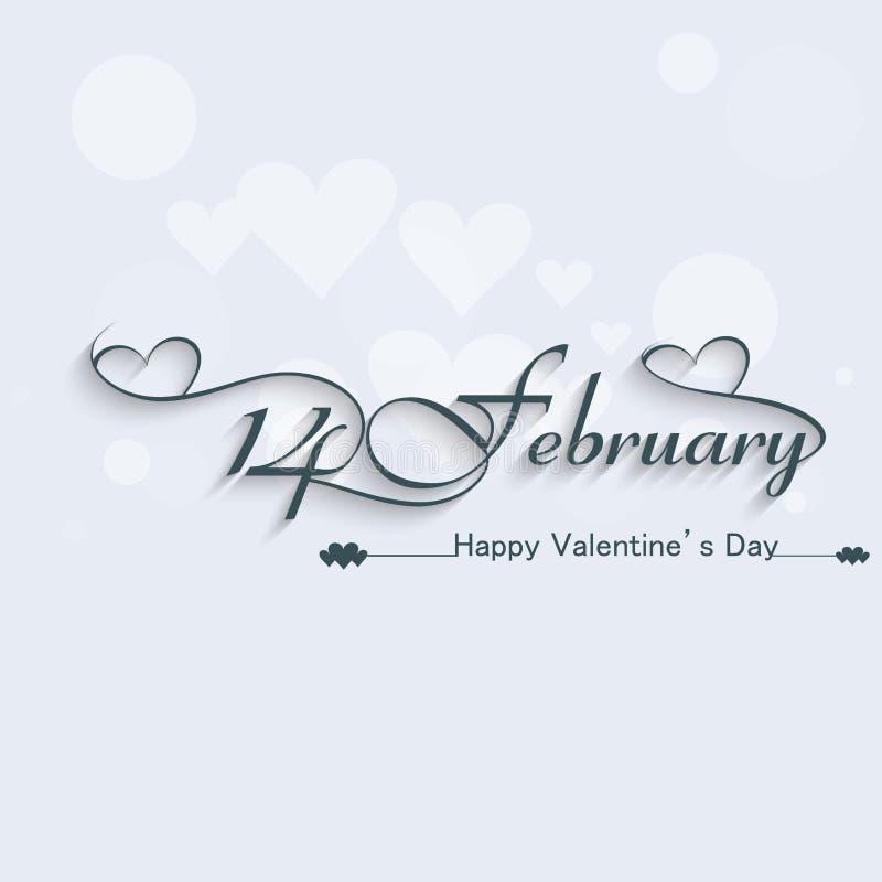 14 de febrero diseño elegante hermoso del texto stock de ilustración